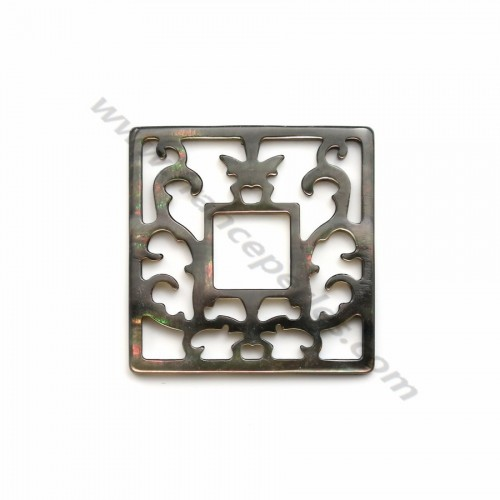 Gray square mother-of-pearl with openwork 30x30mm x 1pc