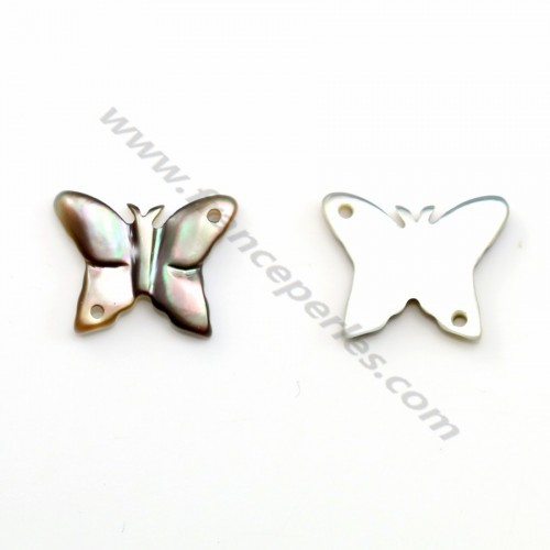 Gray mother-of-pearl in a butterfly shape 9x12mm x 1pc