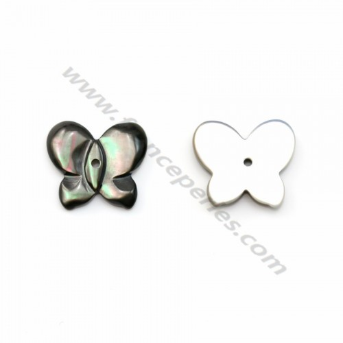 Gray mother-of-pearl in butterfly shape 10x12 mm x 1pc
