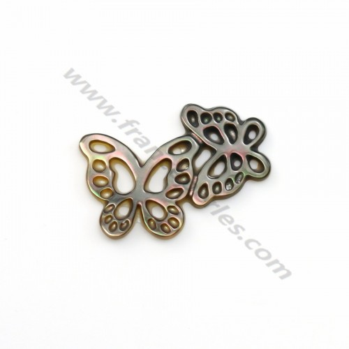 Gray mother-of-pearl butterfly couple 13x18mm x 1pc