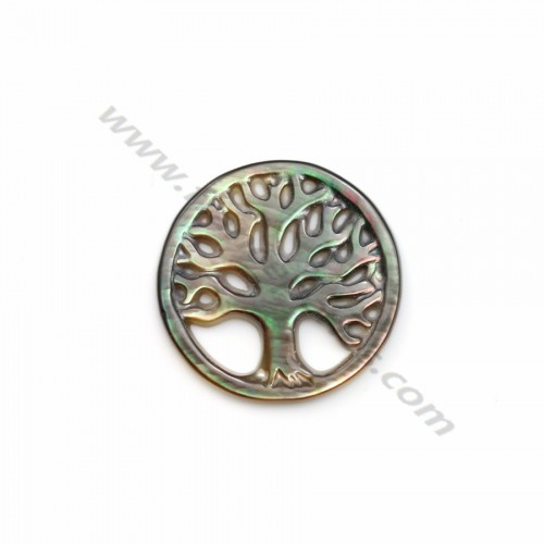 Gray mother-of-pearl tree of life pattern 17mm x 1pc