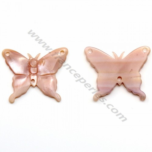 Nacre rose en forme de papillon 21x26mm x 1pc