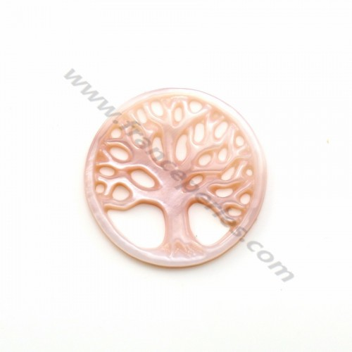 Pink mother-of-pearl with tree of life pattern 17mm x 1pc
