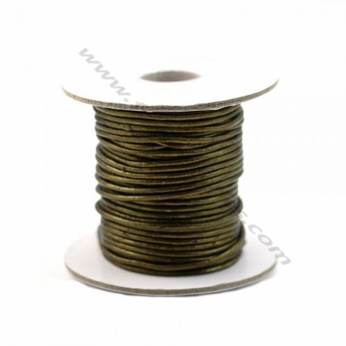 Fil en cuir doré vert 1.5mm X 1m