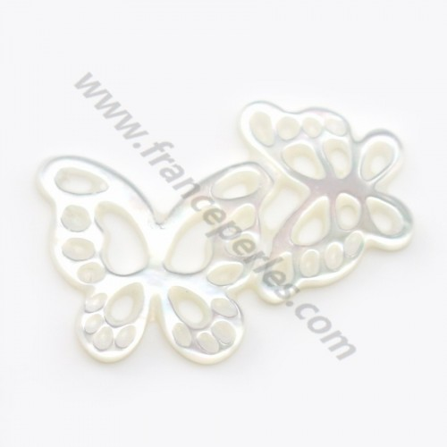 White mother-of-pearl butterfly couple 13x18mm x 1pc
