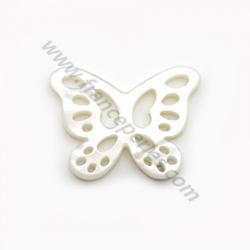 White mother-of-pearl butterfly with openwork 14x19mm x 1 pc