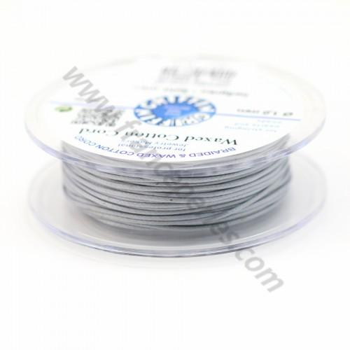 Cordonnet coton ciré gris 1mm  x 20m