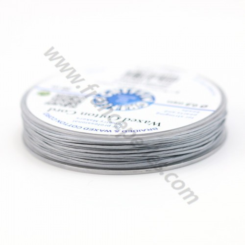 Grey waxed cotton cords 0.8mm x 20m