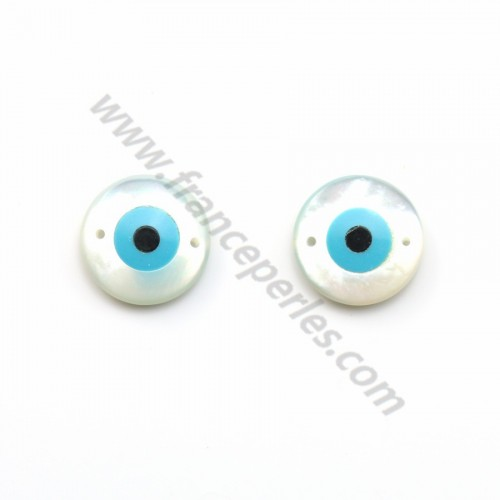 "Natural shell ""your bleu eyes'' 12mm X 1pc"