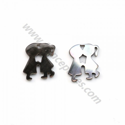 Gray mother-of-pearl kissing couple 14x16mm x 1pc