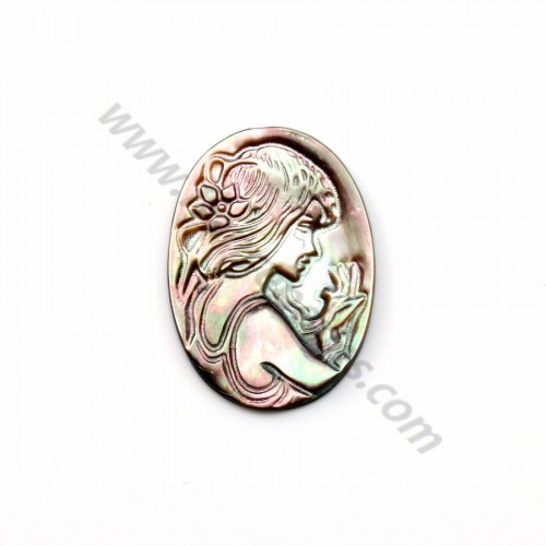 Gray mother-of-pearl oval cameo (girl's face) 30x22mm x 1pc