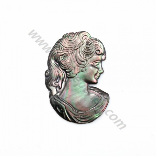 Gray mother-of-pearl cameo (lady's face) 23x34mm x 1pc