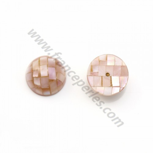 Pink mother-of-pearl half-drilled cabochon with mosaic 16mm x 1pc