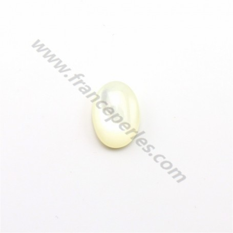 Oval cabochon 8x6mm White Mother-of-Pearl x1pc