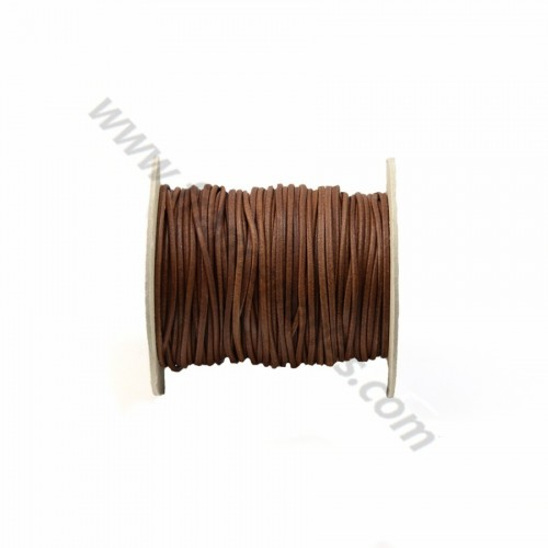 Brown rounded buffalo leather cord 2.5mm x 1m