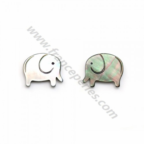 Gray mother-of-pearl elephant 12x14mm x 1pc