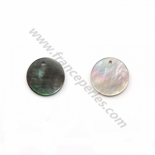 Gray,round, flat mother-of-pearl 10mm x 2pcs