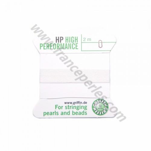 Fil haute performance blanc 0.3mm attaché à une aiguille x 2m