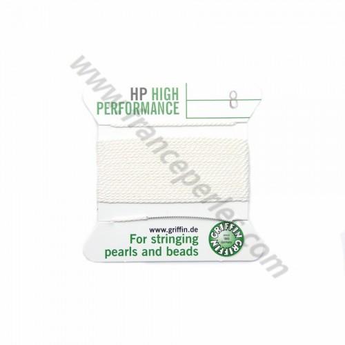 Fil haute performance blanc 0.60mm attaché à une aiguille x 2m