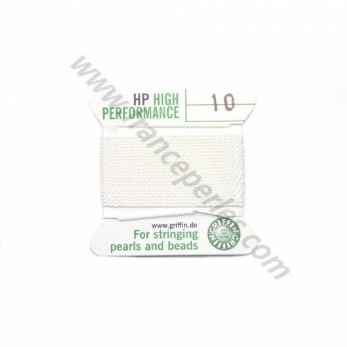 Fil haute performance blanc 0.80mm attaché à une aiguille x 2m