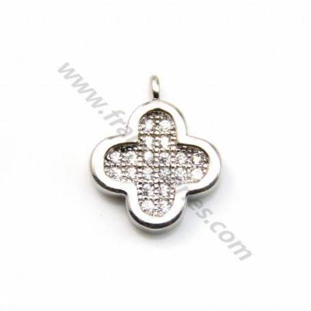 "Charms clover by ""flash"" Silver on brass 10mm x 1pc"