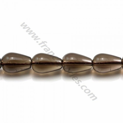 Smokey quartz drop 7x10mm x 40cm