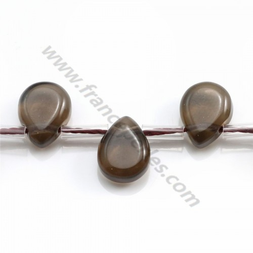 Smokey quartz drop flat 7x9mm x 40cm