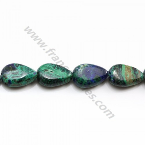 Azurite malachite flat drop 8x12mm x 40cm