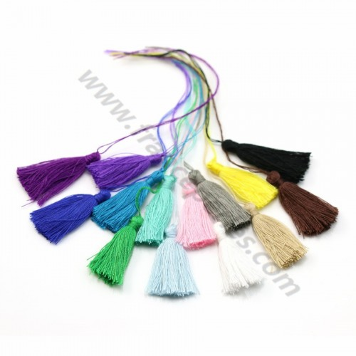 Multicolor pompon in cotton 30mm x 14pcs