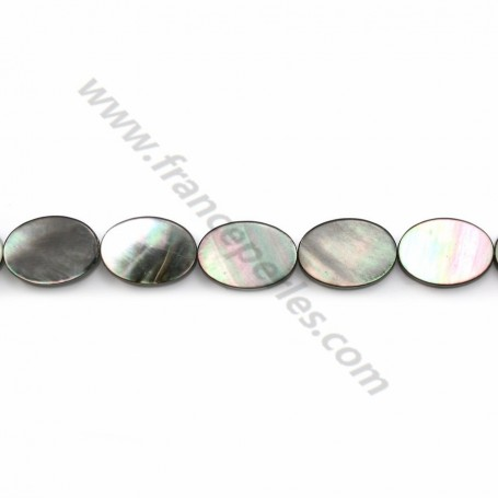 Gray mother-of-pearl oval beads on thread 10x14mm x 40cm