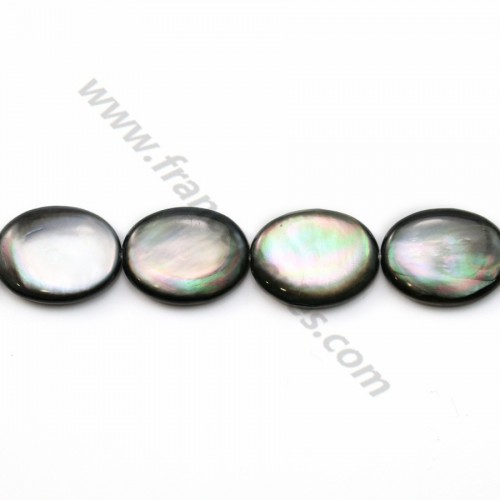Gray mother-of-pearl bulged oval beads on thread 15x20mm x 40cm