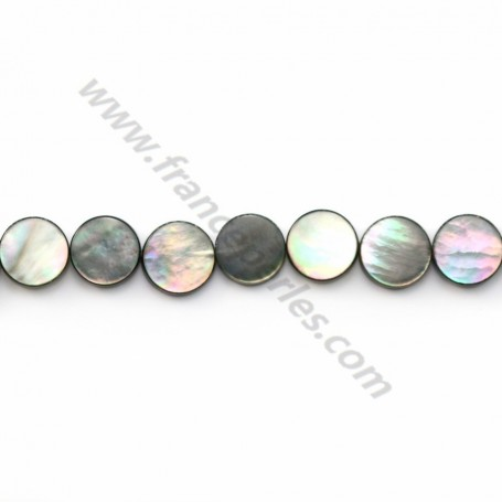 Gray mother-of-pearl flat round beads on thread 8mm x 40cm