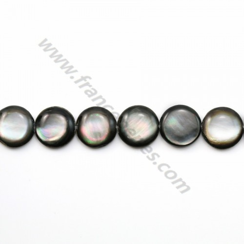 Gray mother-of-pearl bulged round beads on thread 13mm x 40cm