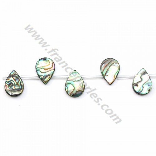 Abalone mother-of-pearl flat drop beads on thread 13x18mm x 40cm