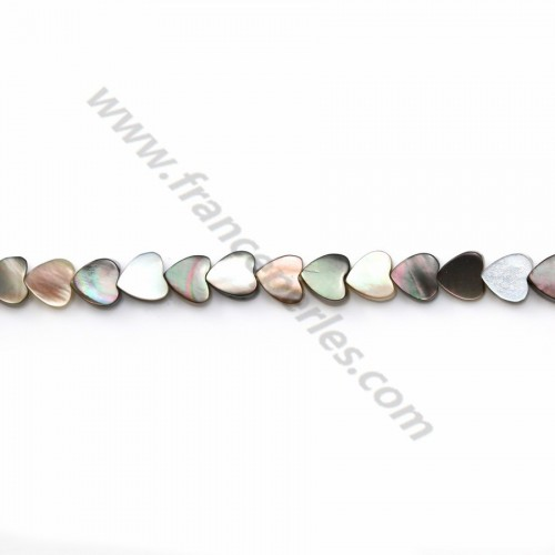 Gray mother-of-pearl heart beads on thread 4mm x 40cm