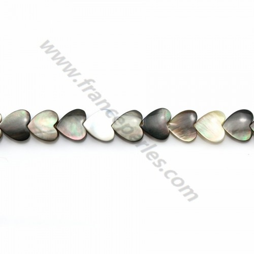 Gray mother-of-pearl heart beads on thread 6mm x 40cm
