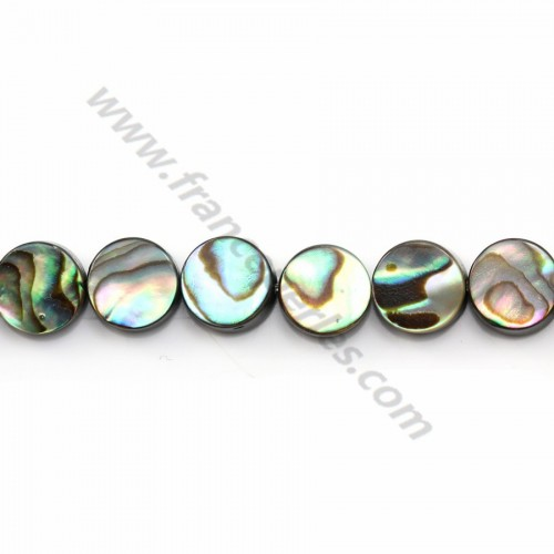 Abalone mother-of-pearl flat round beads on thread 8mm x 40cm