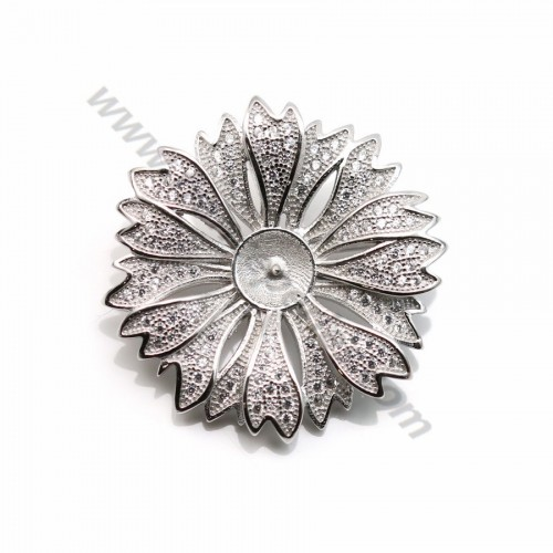 925 silver and zirconium flower shaped brooch 30mm x 1pc