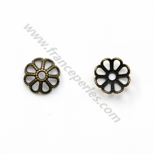 Coupelle en fleur bronze vielli  8mm x 20pcs