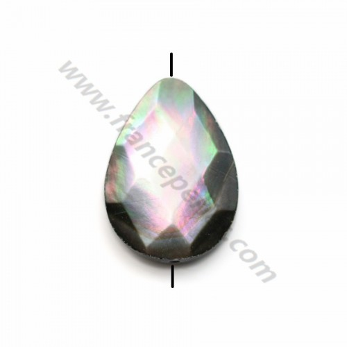 Gray Shell Faceted Flatted Teardrop 13*17mm X 1pc