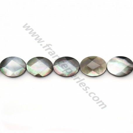 Gray mother-of-pearl faceted oval beads on thread 12x16mm x 40cm