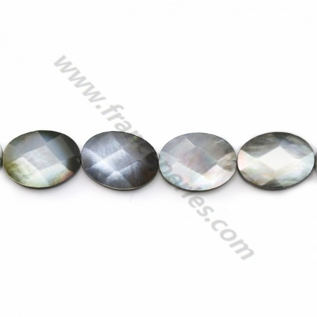 Gray mother-of-pearl faceted oval beads on thread 14x18mm x 40cm