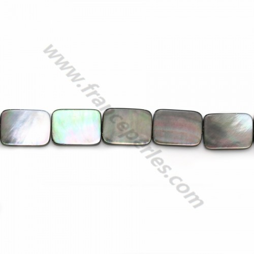 Gray mother-of-pearl rectangle beads on thread 10x14mm x 40cm