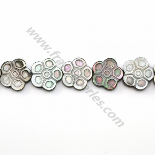 Gray mother-of-pearl flower beads on thread 18mm x 40cm