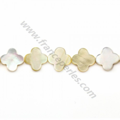 Yellow mother-of-pearl clover beads on thread 13mm x 40cm