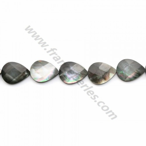 Gray mother-of-pearl faceted flat drop beads on thread 15x20mm x 40cm