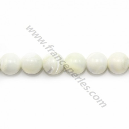 White mother-of-pearl round beads on thread 12mm x 40cm