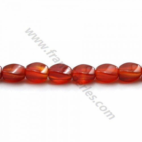Red agate torsaded oval 5.5*7.5mm x 40cm