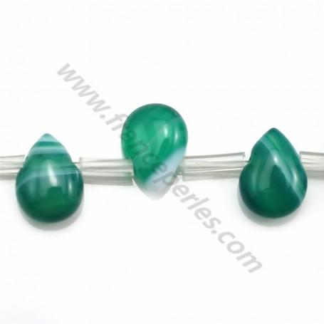Green agate flat drop 10*14mm x 40cm