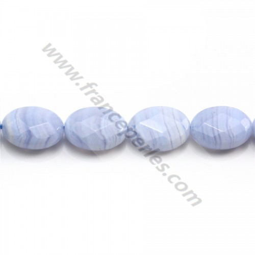 Blue chalcedony flat faceted round 8mm x 40cm